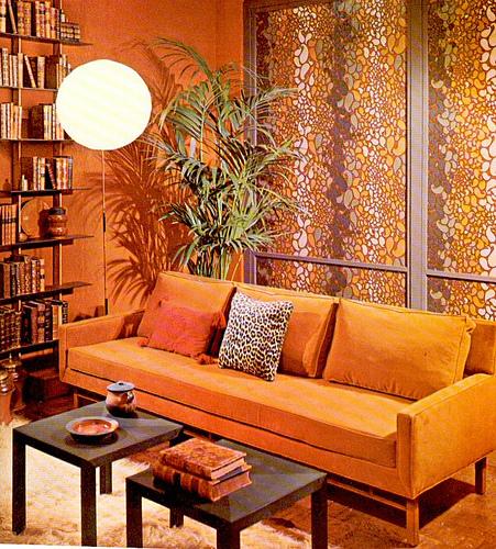1960s orange living room