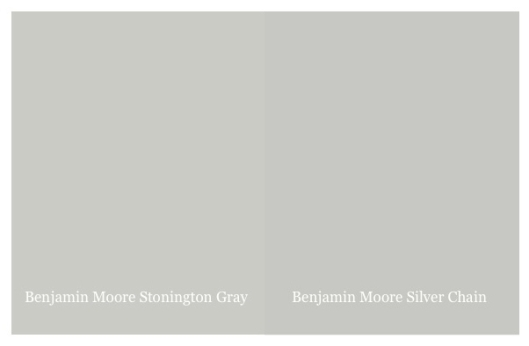 Benjamin Moore Stonington Gray and Silver Chain, via #RoomLust