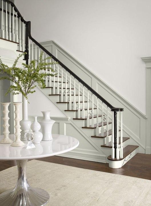 Benjamin Moore Stonington Gray and Lacey Pearl, via #RoomLust